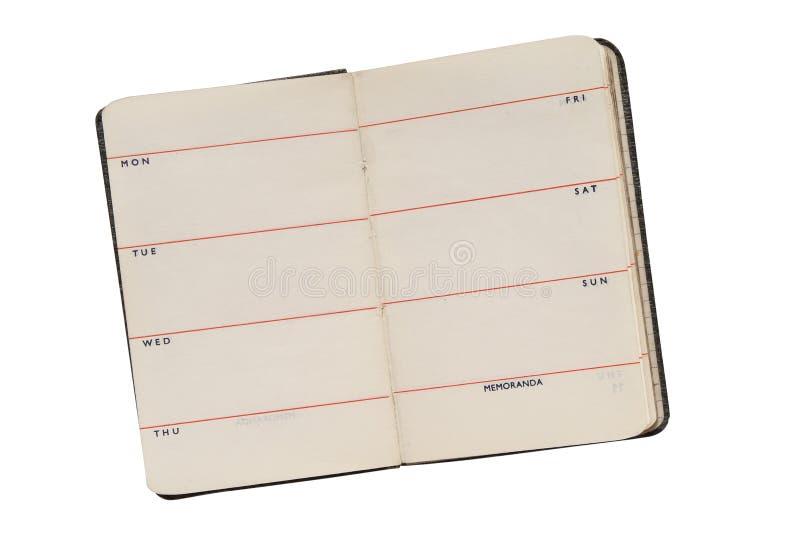 Altes offenes Tagebuch stockfotos