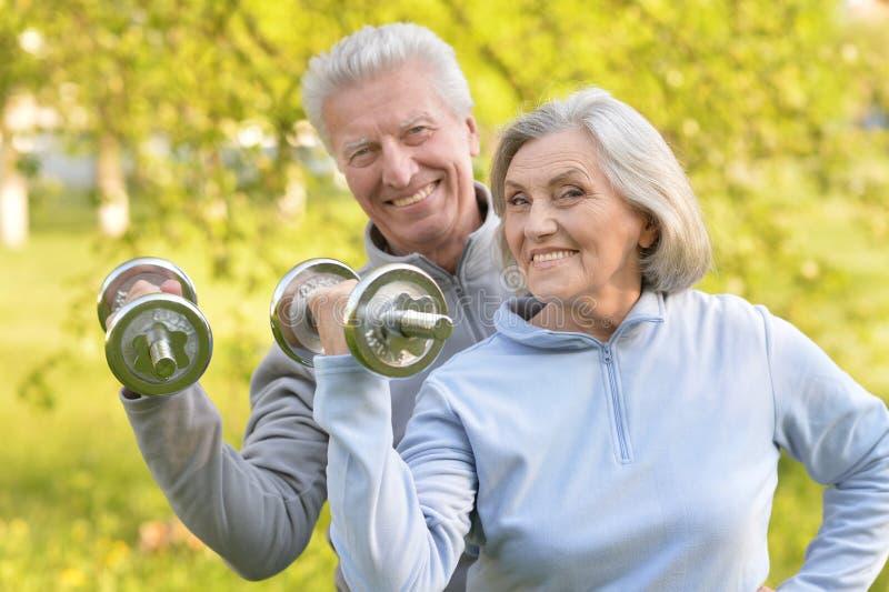 Altes Paar tut Sport auf Natur lizenzfreie stockfotografie