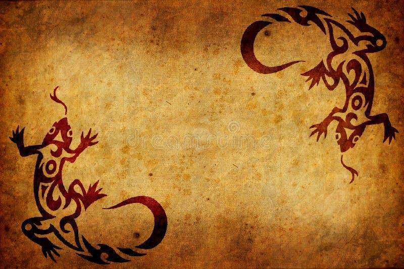 Altes paperwith Stammes- Zeichen stock abbildung