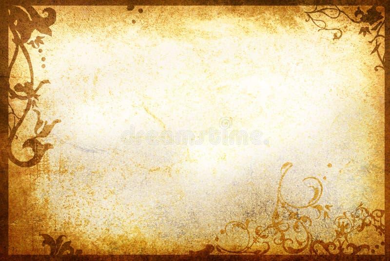 Altes Papier der Blumenart masert Feld stockbild