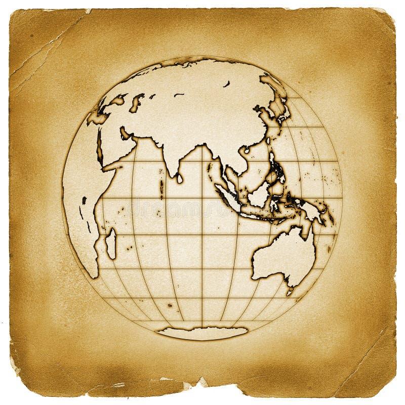 Altes Papier der Planetenkugel-Erde lizenzfreie abbildung