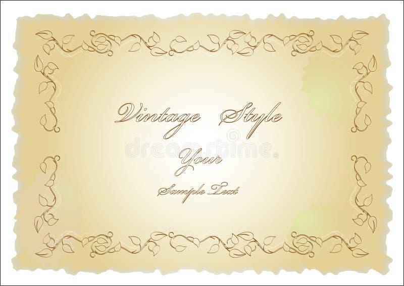 Altes Papier mit Blumenauslegung lizenzfreie abbildung
