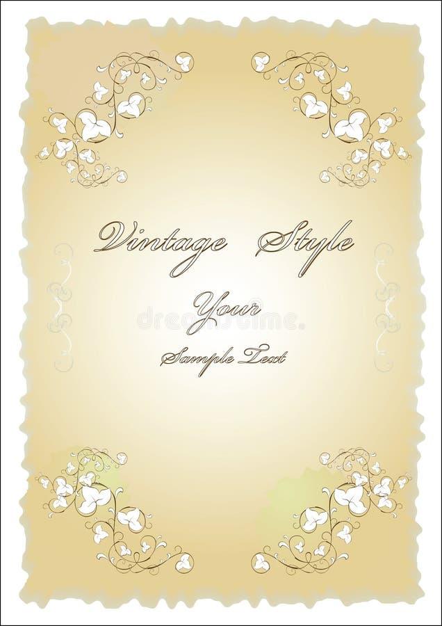 Altes Papier mit Blumenauslegung vektor abbildung