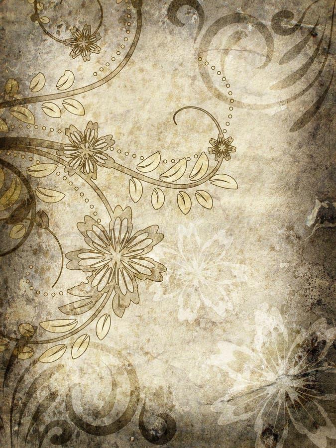 Altes Papier mit Blumenmuster stock abbildung