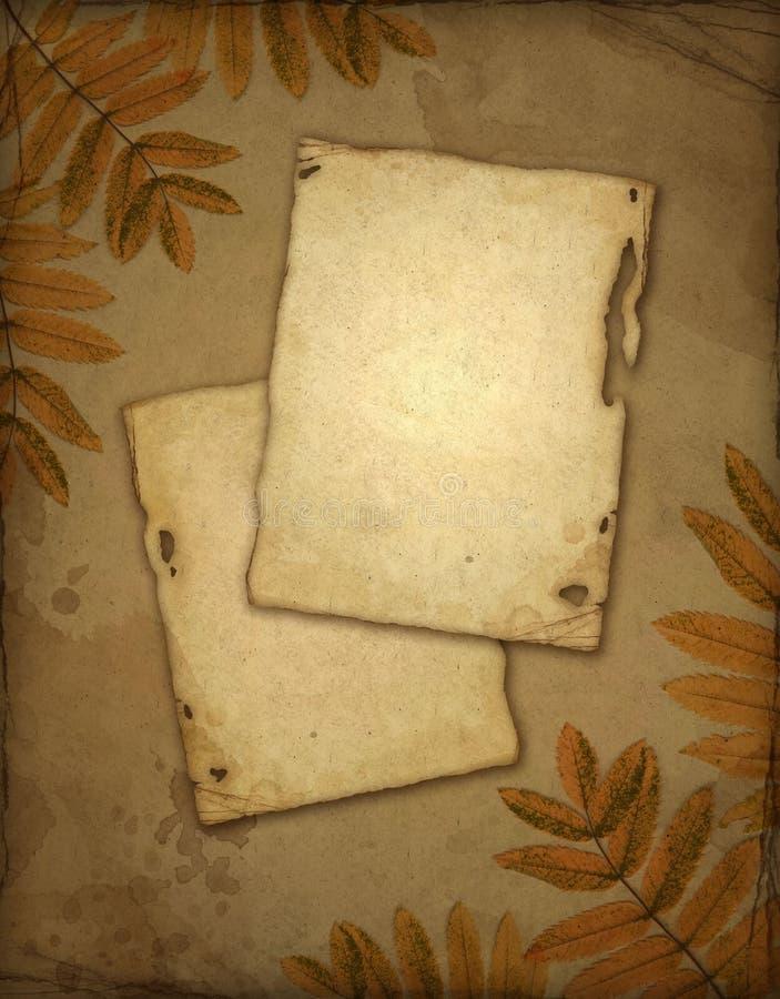 Altes Papier mit Herbstblättern stock abbildung