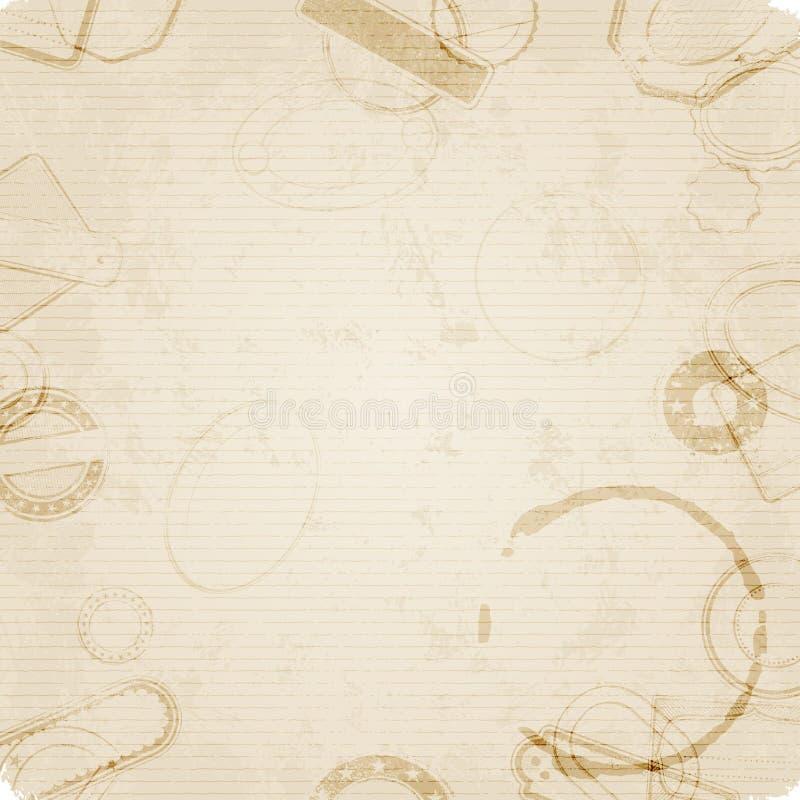 Altes Papier mit Stempeln und Flecken lizenzfreie abbildung