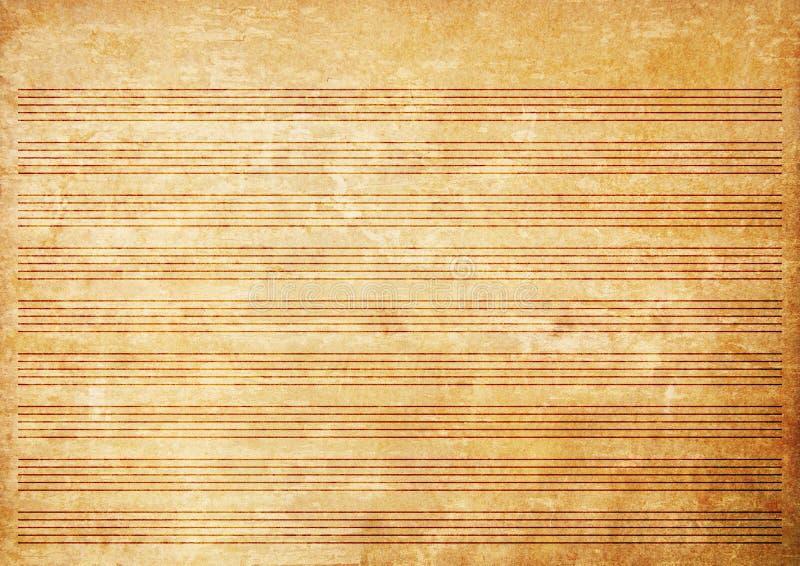 Altes Papiergrunge Musikblatt stockbild