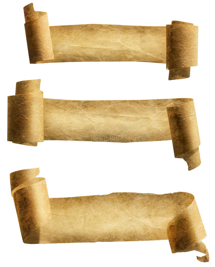 Altes Papierrollen-Band, Pergament-Rollenikone, gekräuselte Papiere lizenzfreies stockbild