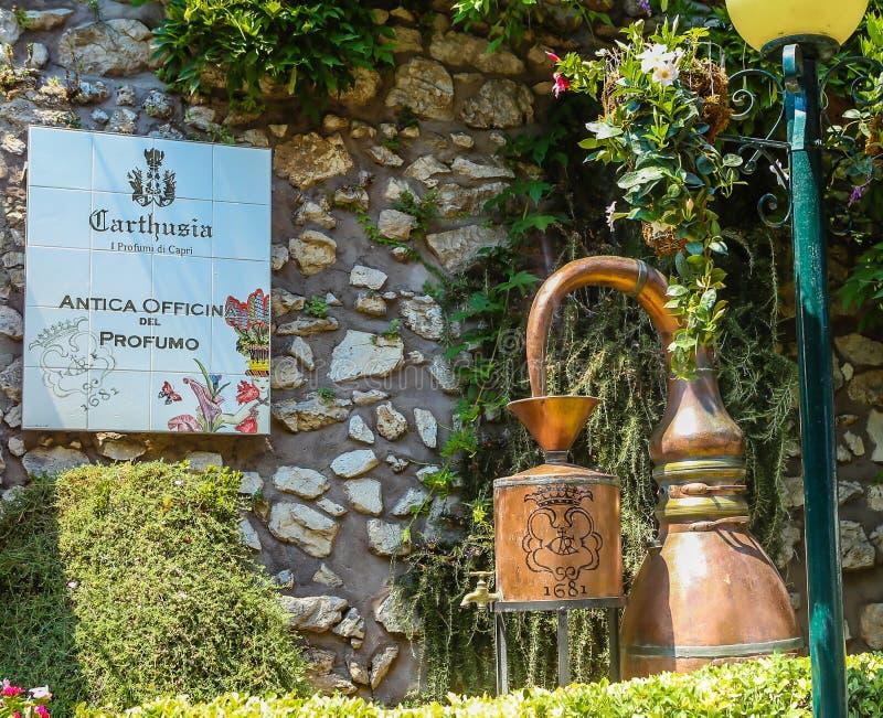 Altes Parfümlabor auf Capri-Insel, Amalfi Küste stockfotografie