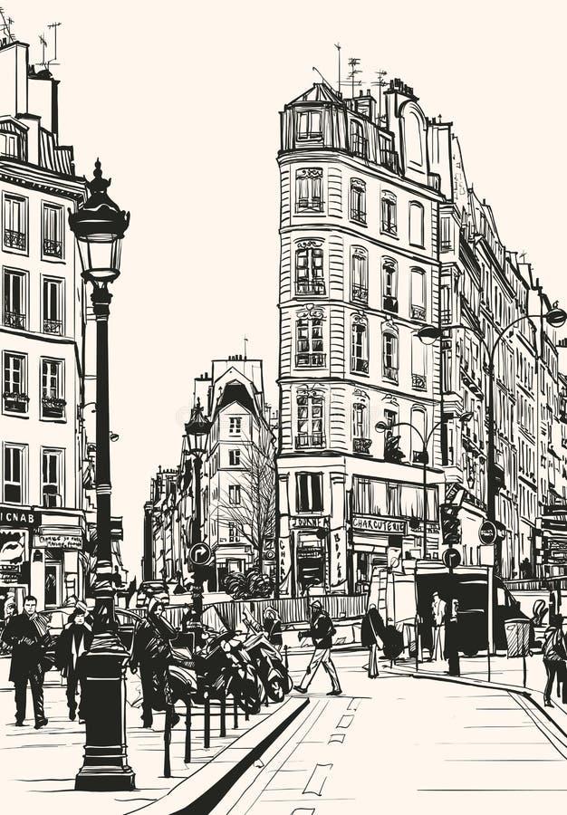 Altes Paris nahe St Denis lizenzfreie abbildung