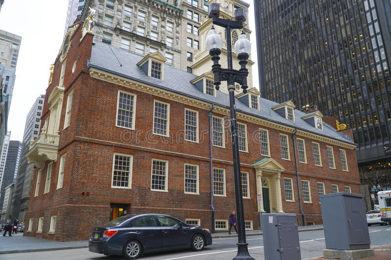 Altes Parlamentsgebäude in Boston - BOSTON, MASSACHUSETTS - 3. April 2017 lizenzfreies stockbild