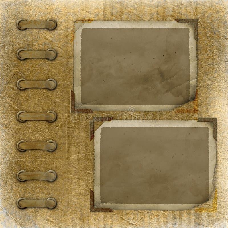 Altes photoalbum mit zwei grunge Feldern lizenzfreie abbildung