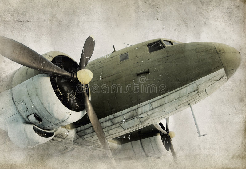 Altes Propellerflugzeug stockfoto