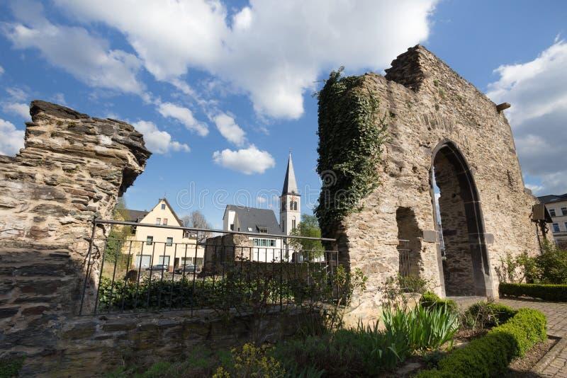 altes römisches Castell-boppard Deutschland stockbilder