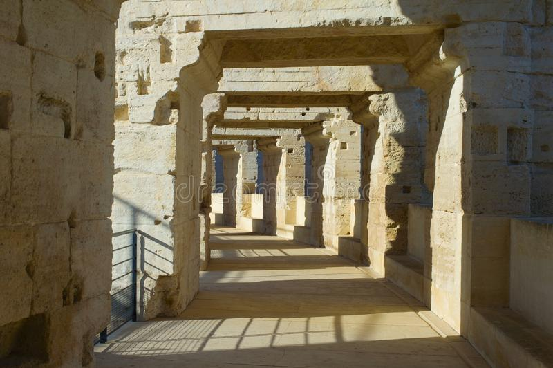 Altes römisches colosseum Arles, Frankreich stockbild
