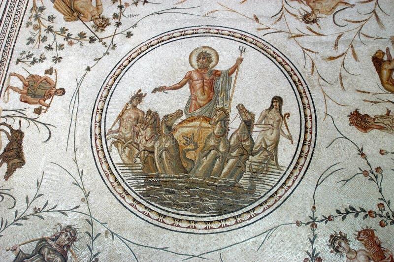 Altes römisches Mosaik stockfotos