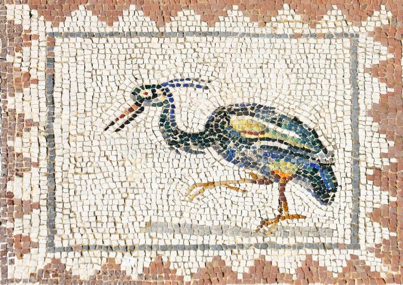 Altes römisches Mosaik, das einen Reiher, Sevilla darstellt stockfotografie