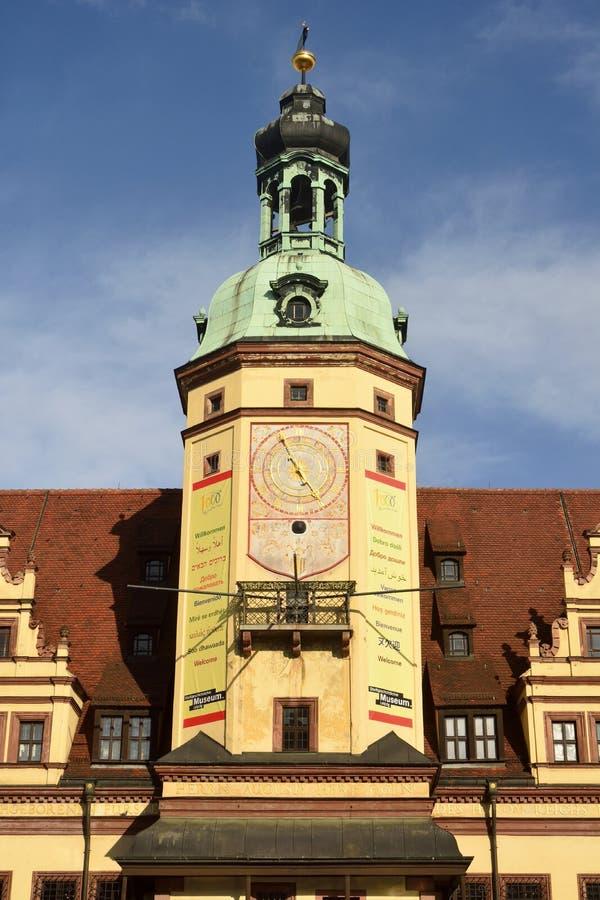 Altes Rathaus塔在Markt广场的在莱比锡 免版税库存图片