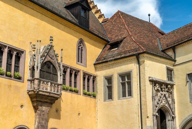 Altes Rathaus,老城镇厅在雷根斯堡,德国 免版税库存照片