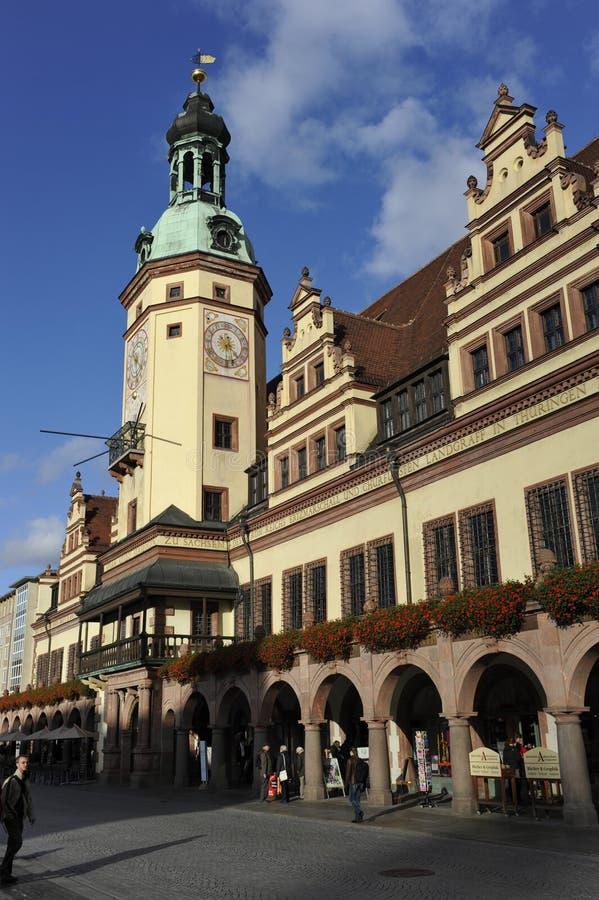 Altes Rathaus (Stadhuis =Old), Leipzig, Duitsland stock foto