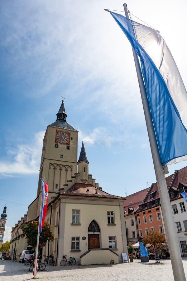 Altes Rathaus sur le platz d'Oberer dans Deggendorf, Bavière, Allemagne image libre de droits