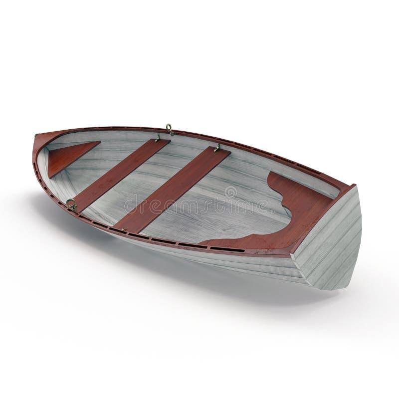 Altes Reihenboot lokalisiert auf Weiß Abbildung 3D lizenzfreie stockfotos