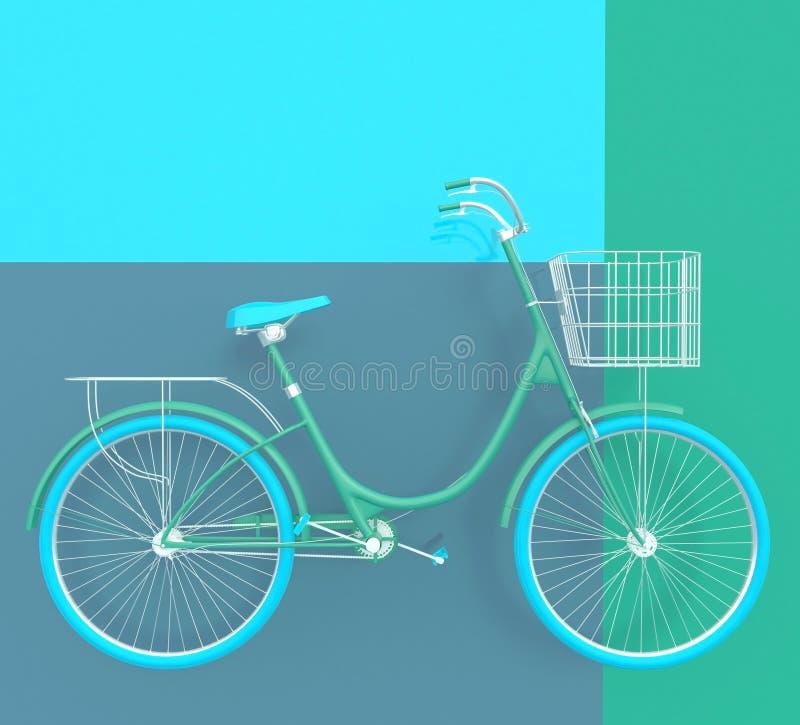 Altes Retro- Fahrrad gemalt in den hellen Farben auf einem bunten Hintergrund Abstrakter Begriff 3d übertragen stock abbildung