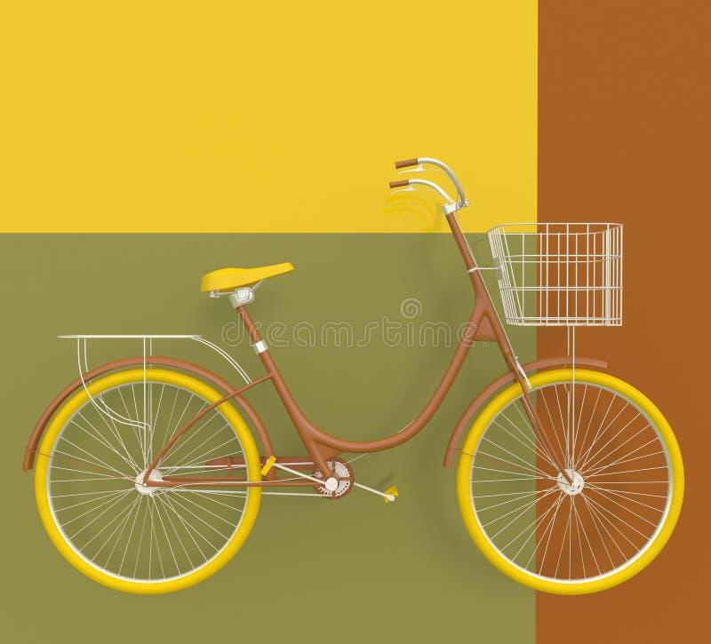 Altes Retro- Fahrrad gemalt in den hellen Farben auf einem bunten Hintergrund Abstrakter Begriff 3d übertragen lizenzfreie abbildung