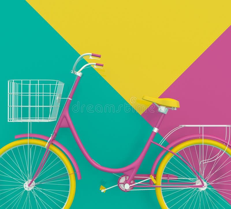 Altes Retro- Fahrrad gemalt in den hellen Farben auf einem bunten Hintergrund Abstrakter Begriff 3d übertragen vektor abbildung