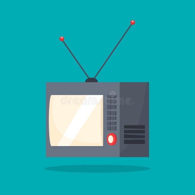 Altes Retro- Fernsehen mit der Antenne unterhaltung vektor abbildung