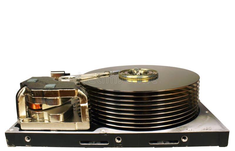 Altes Retro- offenes Festplattenlaufwerk lokalisiert auf weißem Hintergrund sta lizenzfreie stockbilder