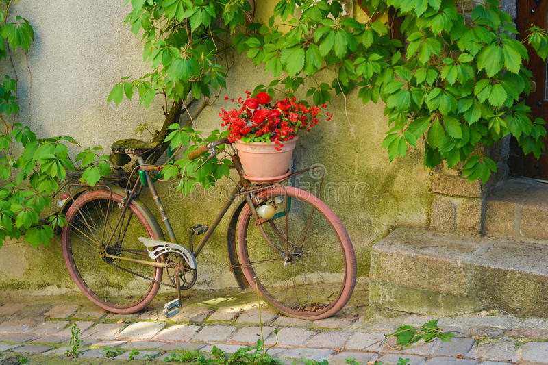 altes rostiges fahrrad mit blumen in einem korb stockfoto bild von frankreich picknick 88788138. Black Bedroom Furniture Sets. Home Design Ideas