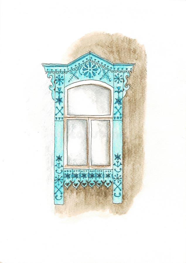 Altes rustikales Fenster Aquarell und Bleistifte übergeben gezogene Illustration lizenzfreie abbildung