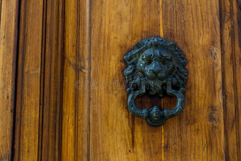 Altes Scharnierventil auf hölzerner alter Tür lizenzfreie stockbilder