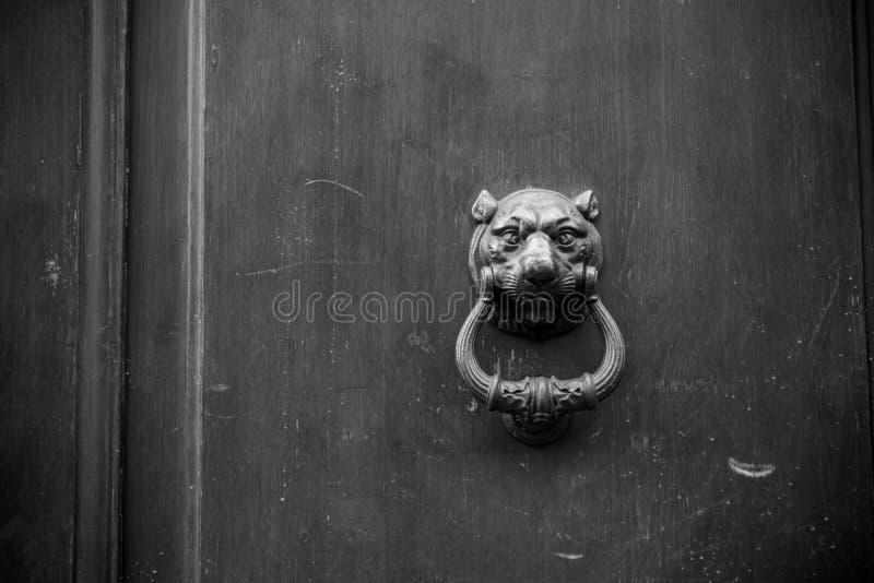 Altes Scharnierventil auf hölzerner alter Tür stockbilder