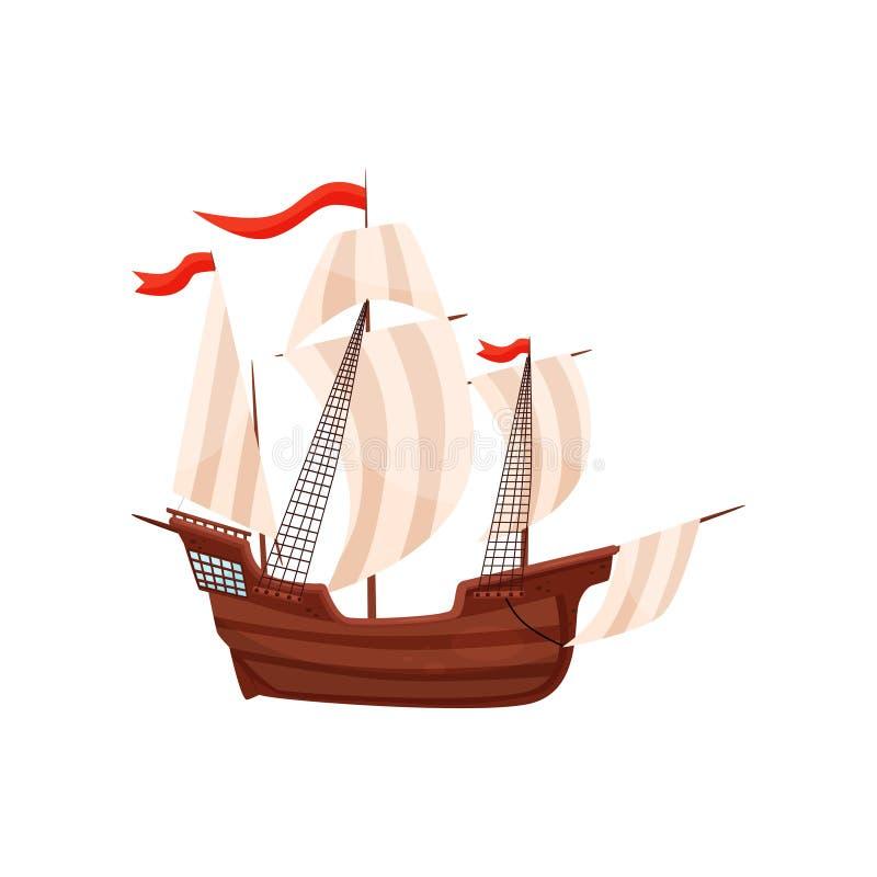 Altes Schiff mit großen beige Segeln und roten Fahnen Hölzernes Segelboot Seetransport Seereisen-Thema Flaches Vektordesign vektor abbildung