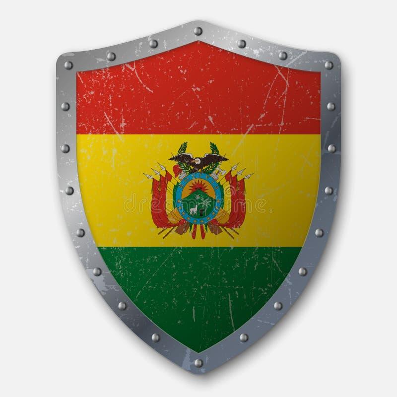 Altes Schild mit Flagge stock abbildung