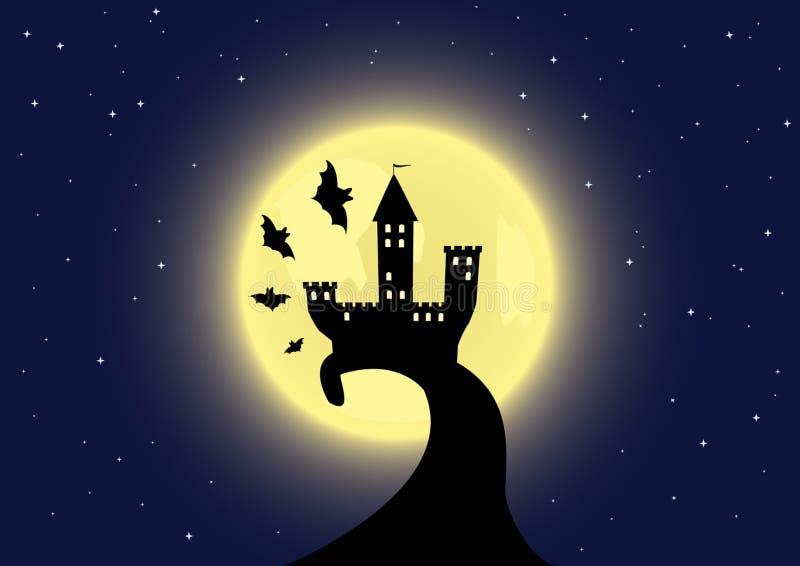 Altes Schloss auf dem Mondhintergrund lizenzfreie abbildung