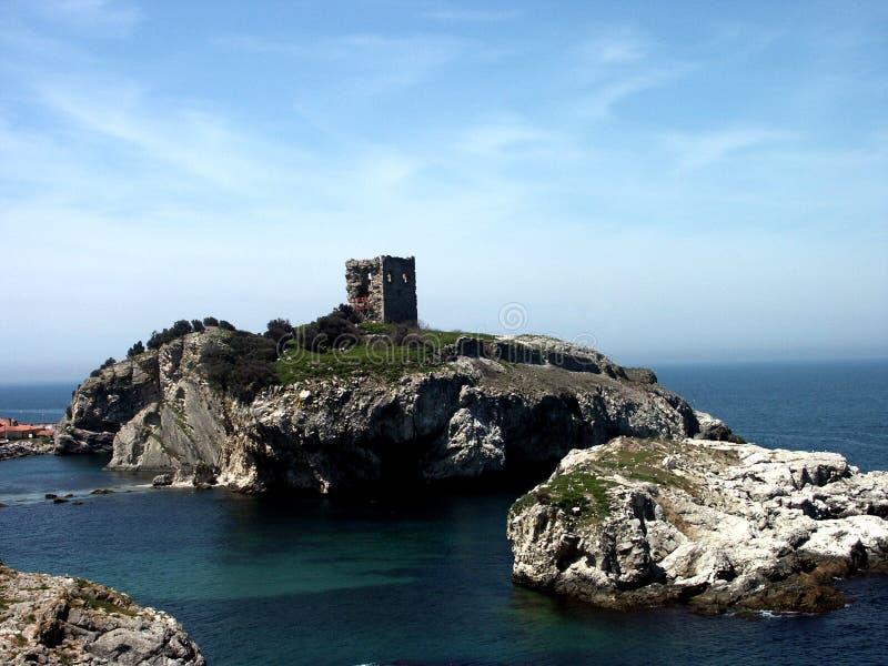Altes Schloss auf kleiner Insel stockbilder