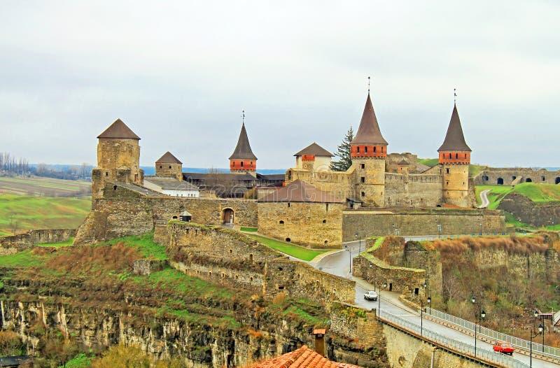 Altes Schloss in Kamyanets-Podilsky, Ukraine stockfotografie