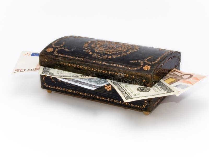 Altes Schmuckkästchen mit Geld nach innen