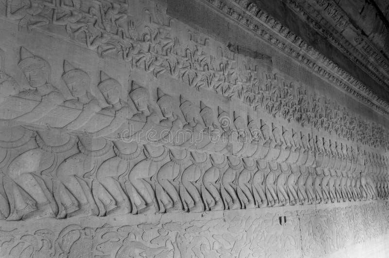 Altes schnitzendes Khmerflachrelief, Angkor Wat Temple stockbild