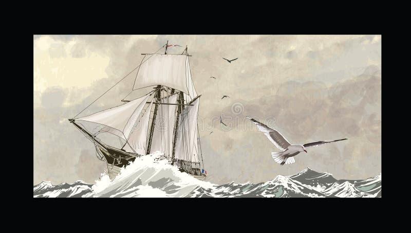 Altes Segelschiff auf einem rauen Meer vektor abbildung
