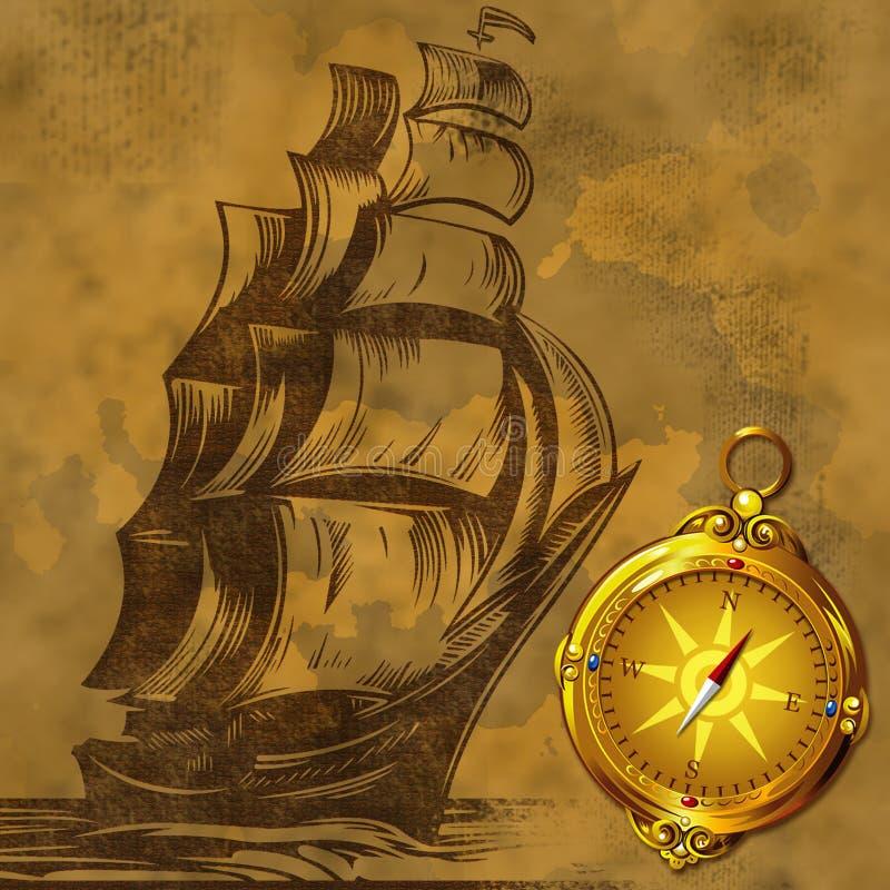 Altes Segelschiff mit altem Kompass stock abbildung