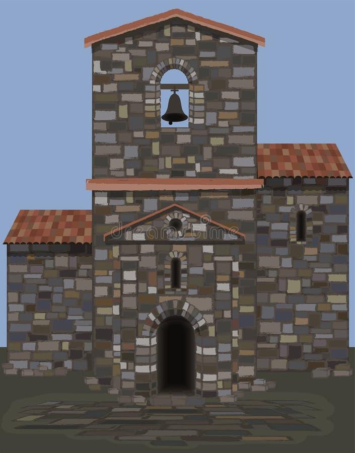 Altes spanisches Steinschloß in der visigothic Art mit Glocke stock abbildung