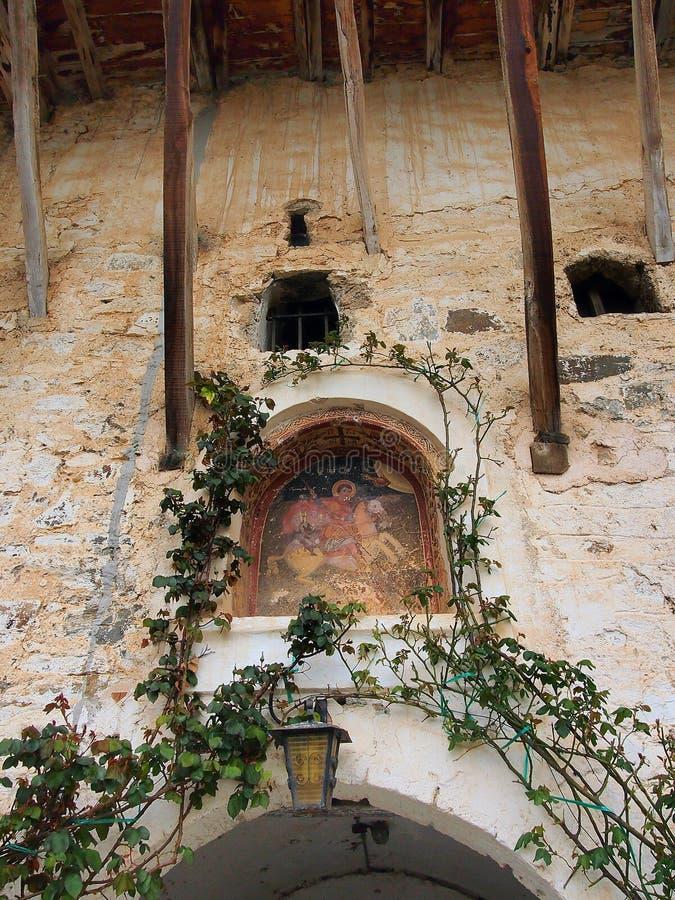 Altes St. George Fresco Icon, Peloponnes, Griechenland lizenzfreie stockfotos