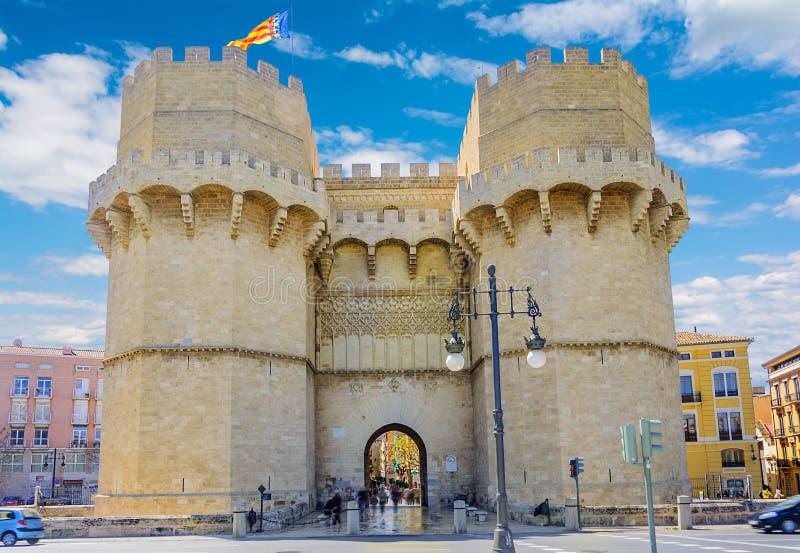 Altes Stadttor, Torres de Serranos in Valencia, Spanien lizenzfreies stockbild