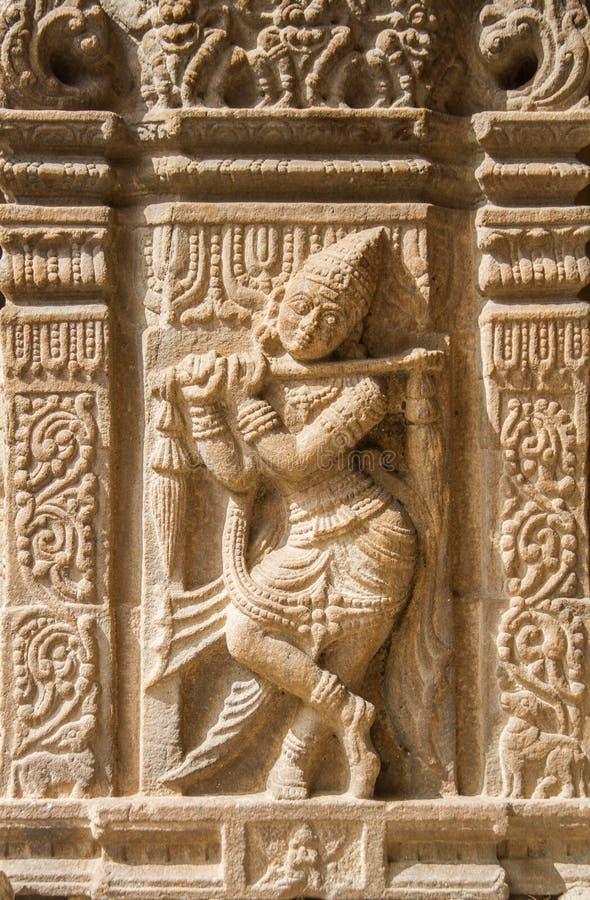 Altes Steinwandgemälde von Krishna lizenzfreies stockfoto