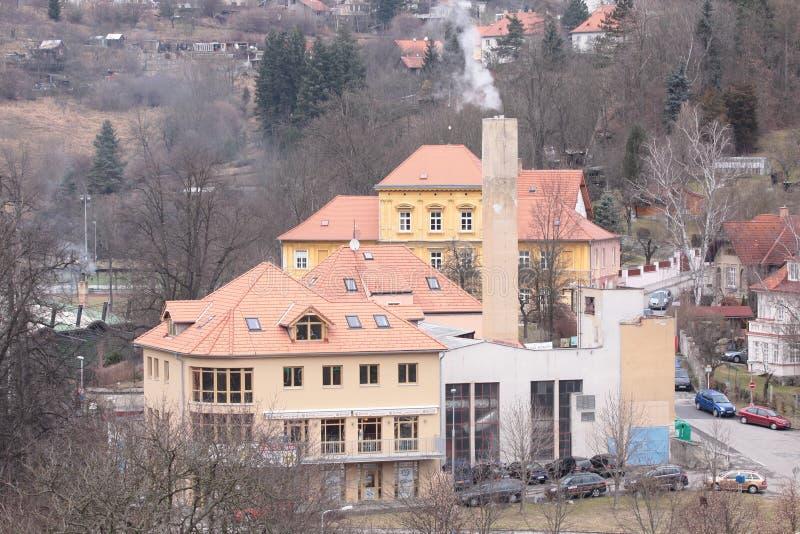 Altes stilisiertes Haus in Czeshcky Kroumlov stockfotos