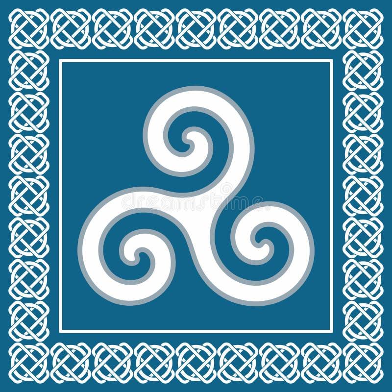 Altes Symbol triskelion oder triskele, traditionelles keltisches Element lizenzfreie abbildung